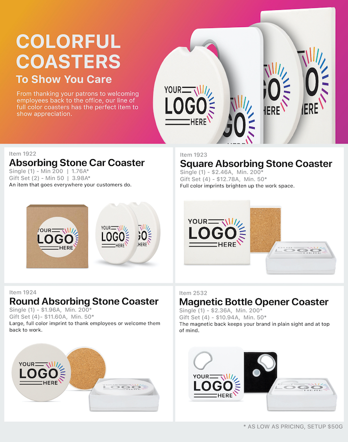 Coaster Gifts<br><p2>for additional personalization, contact us at <a  data-cke-saved-href='mailto:service@alexandermc.com?&subject=Flyer Personalization-Coaster Gifts&body=Hello, I would like to have my company information added to the Coaster Gifts flyer. ATTN DISTRIBUTORS: Please provide your contact info, and attach your logo. For custom virtuals, please attach your customers logo as well.' href='mailto:service@alexandermc.com?&subject=Flyer Personalization-Coaster Gifts&body=Hello, I would like to have my company information added to the Coaster Gifts flyer. ATTN DISTRIBUTORS: Please provide your contact info, and attach your logo. For custom virtuals, please attach your customers logo as well.'>service@alexandermc.com</p></a>
