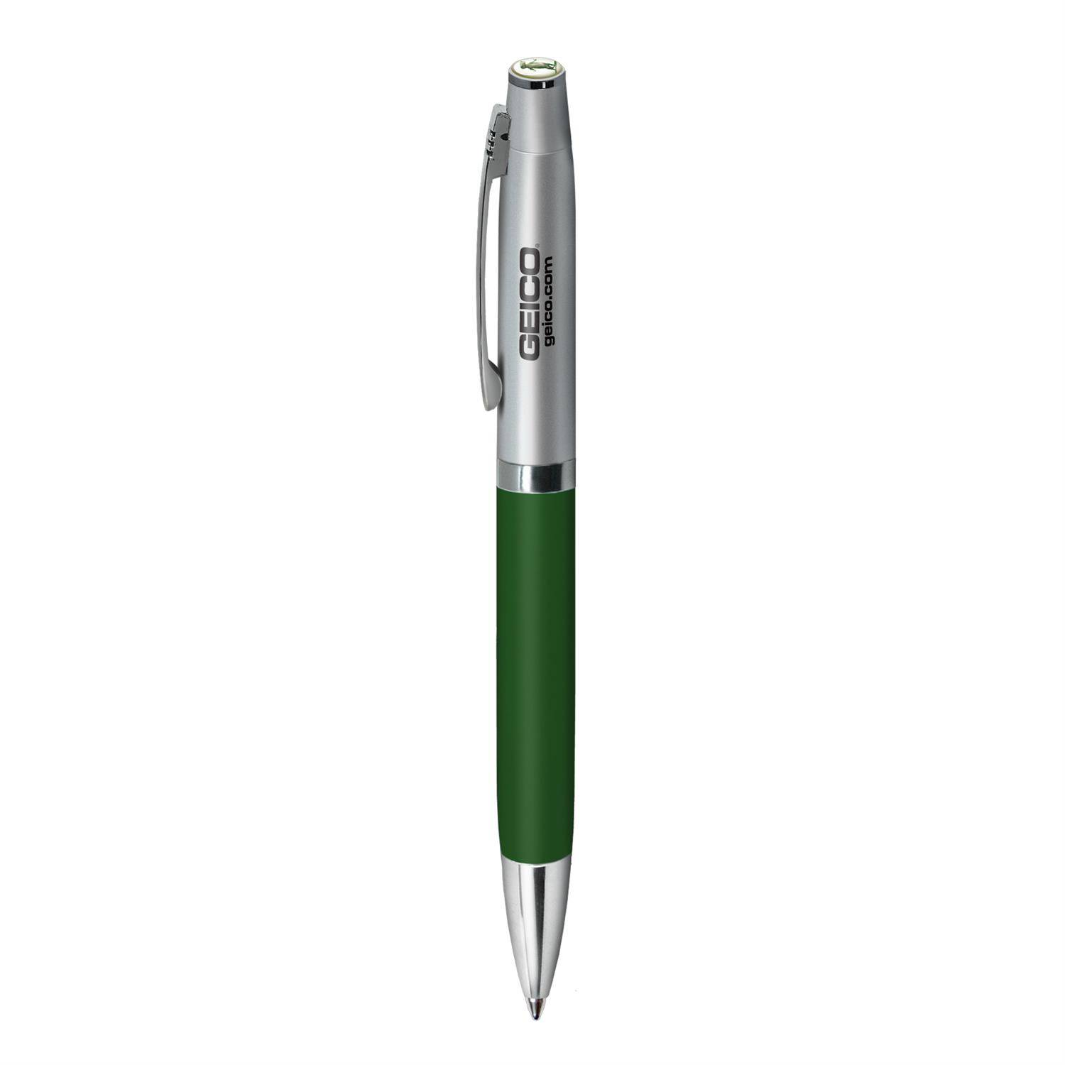 1129GN - Comfort Grip Logo Top Pen-Green