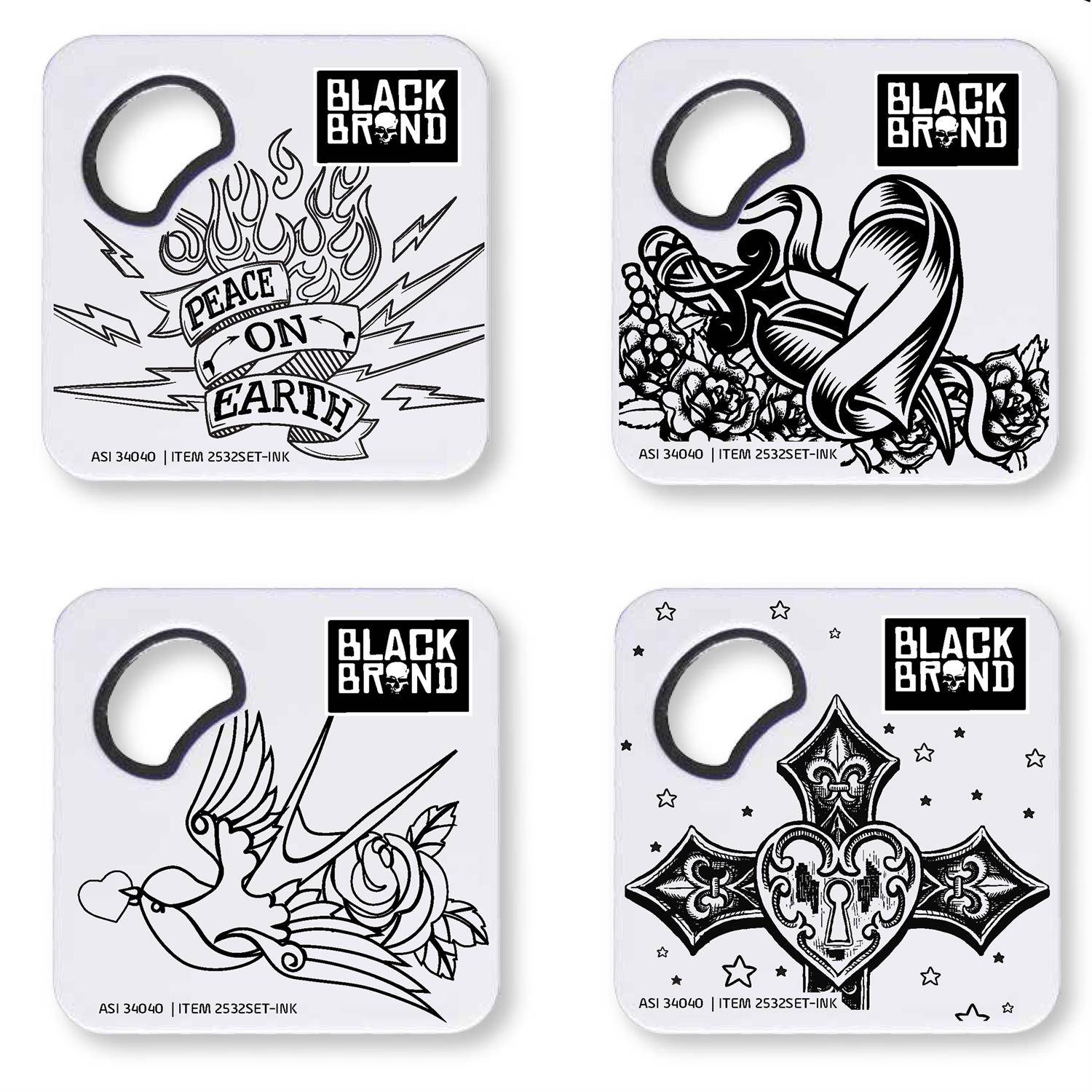 2532SET-INK - Color Me Magnetic Coaster & Bottle Opener Set