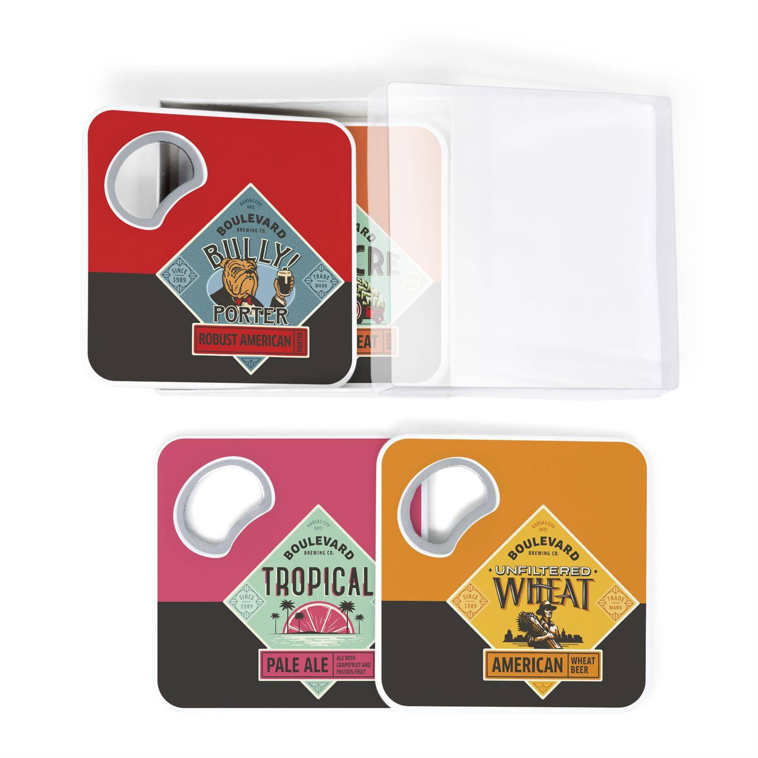 4 Magnetic Coaster & Bottle Opener Set