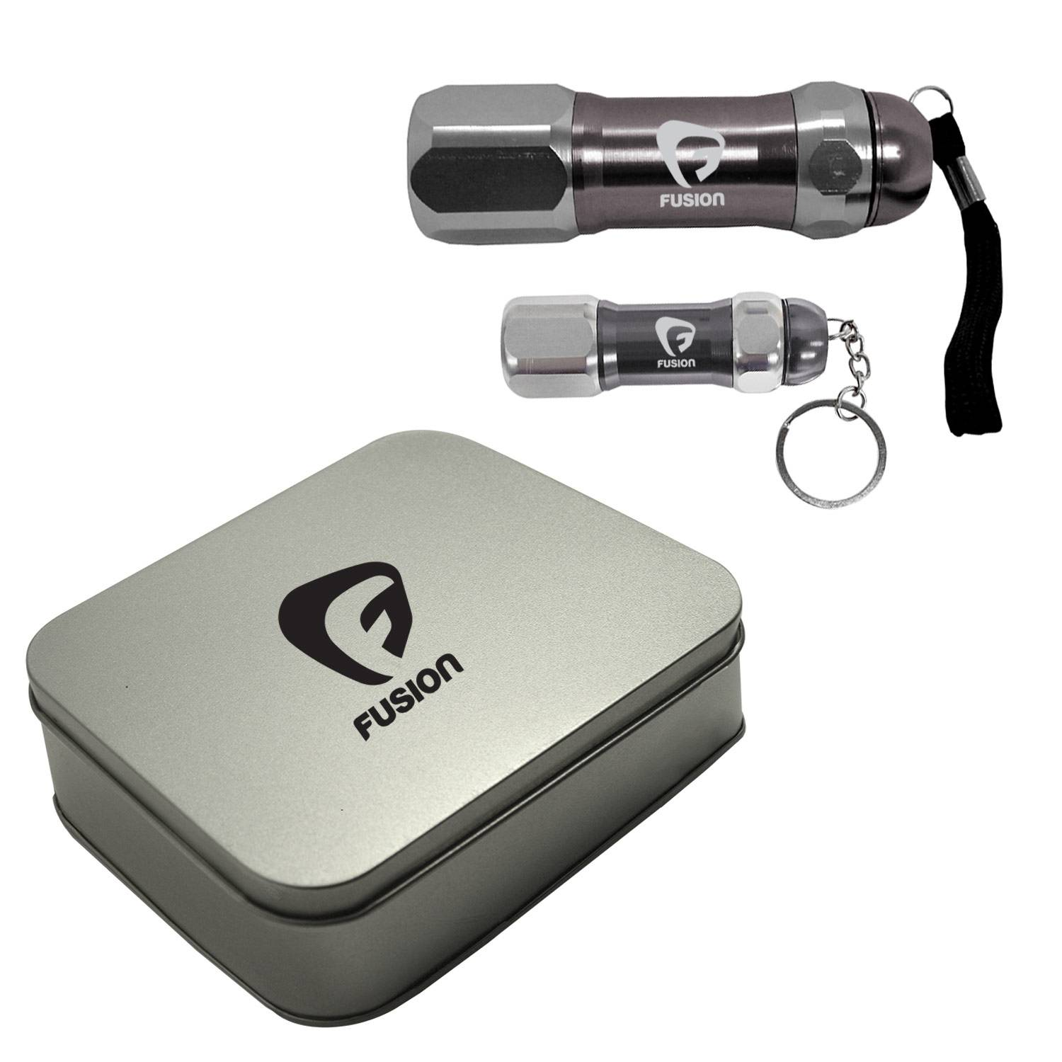 2966 - Magnetic Metal Flashlight And Keychain Set